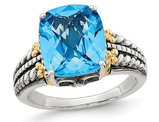 5.00 Carat (ctw) Swiss Blue Topaz Ring in Sterling Silver with 14K Gold Accent